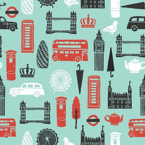 London Block Print - Pale Turquoise/Black/Red/White by Andrea Lauren