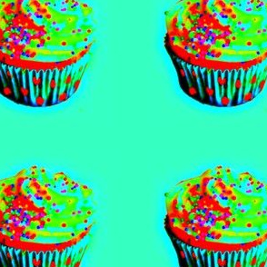 blue cup cupcake - softened-ed
