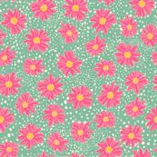 Ditsy Daisy - Pink/Aqua