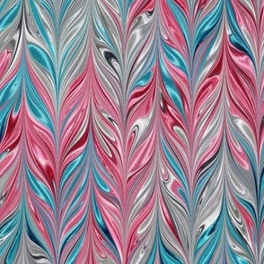 Metallic-SilverPinkAqua-Feather