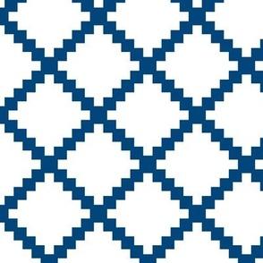 Aztec Trellis in Blue on White