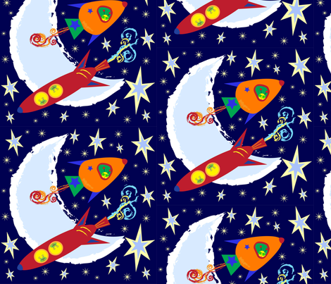 Rocket pattern 3 fabric aschwiebert spoonflower for Rocket fabric