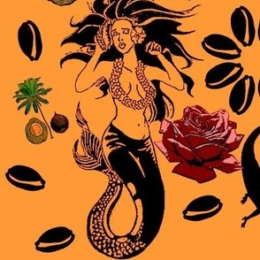 Black mermaid tattoo