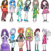 Monster High Fashion Girls Hand Colored