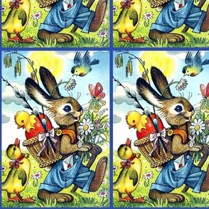 vintage rabbits bunny bunnies Easter eggs good friday chicks ducks goose geese flowers daisy daisies sun clouds sunny countryside fields retro grass