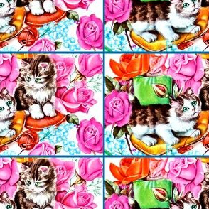 vintage retro kitsch flowers roses cats pussy pussies kittens pillows yarn wool whimsical