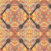 Silver balls on a orange furry field