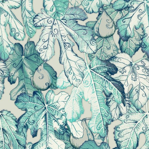 Fig Leaf Fancy - a pattern in teal and grey