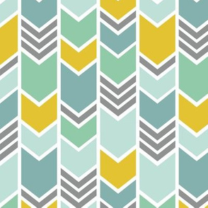 Mint & Gold Chevron