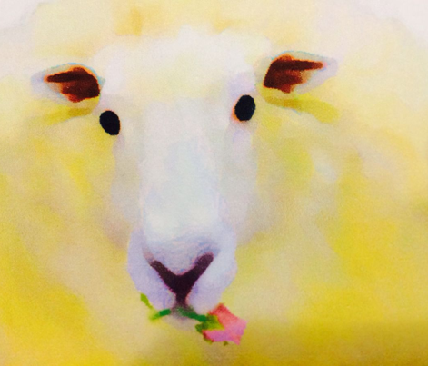 Fluffy Sheep with Roses