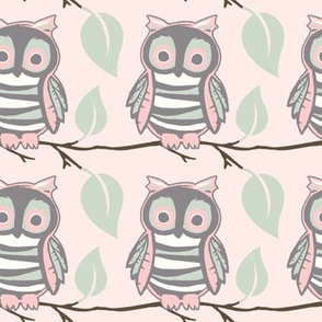 Owl on a Branch - Pink Mint