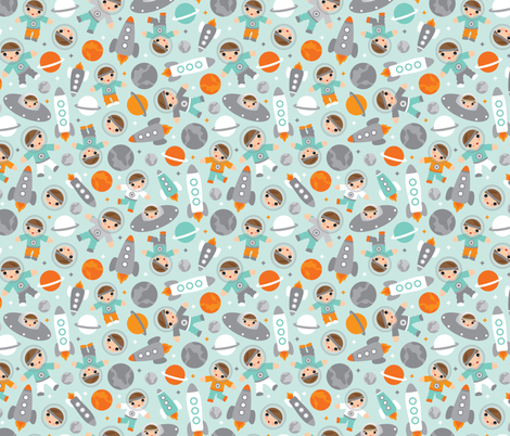 Cute pastel kosmos space astronauts kids illustration moon for Rocket fabric