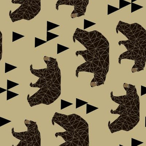 Geometric Bear - Khaki (Railroad) by  Andrea Lauren