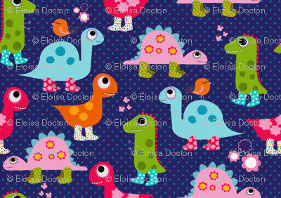 Dino girls fabric natitys spoonflower for Girly dinosaur fabric
