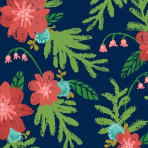 Turquoise & Coral Floral (Night)