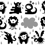 It's raining Monsters (black)