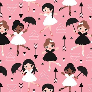 Cute pink geometric ballerina dancing girls illustration pattern