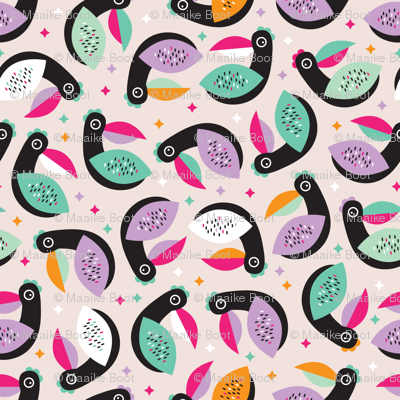 Tropical exotic birds abstract kids tucan illustration ...