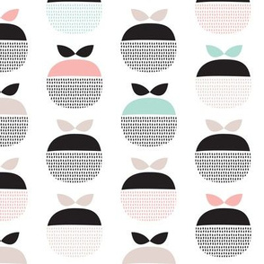 Vintage mint and coral scandinavian apple fruit pattern
