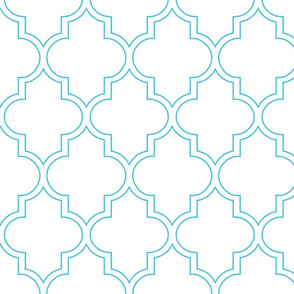 Moroccan Outline Quatrefoil in Aqua