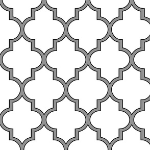 Moroccan Outline Quatrefoil in Black and Cashmere
