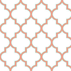 Outlined Quatrefoil  in Bright Salmon and Mint