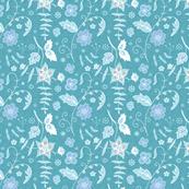 Spring floral - bluegreen