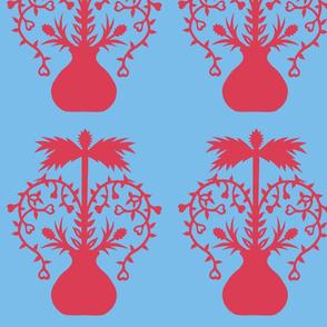 Valentine heart bird tree papercut