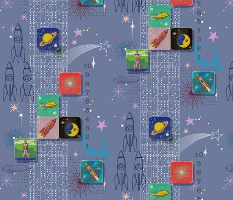 Retro rockets away domino dominoes outer space galaxy for Space baby fabric