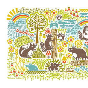 Woodland Woodchucks (Tea Towel)