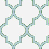 Kelly Green and Gray Blue Quatrefoil