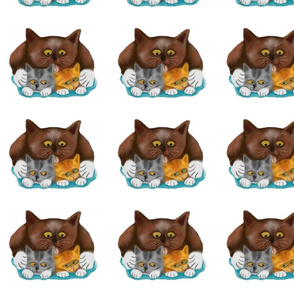 Momma_Cat_Baths_her_Two_Kittens_-_Spoonflower