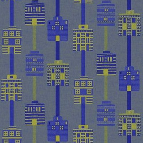 Blue and yellow woven house stripes