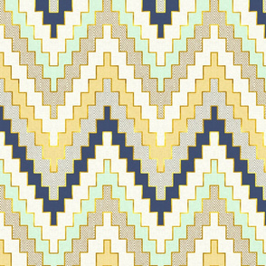 Telluride Luxe Chevron in Navy, Sunshine and Mint