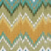 Ikat Chevron in Teal and Sunshine