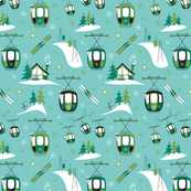 Vintage Ski Gondolas (Teal and Greens)