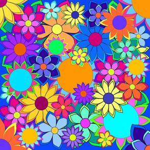 Flashy Flower Field BlueBG