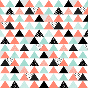 Patterned Triangles - coral, mint, black, white