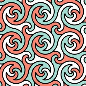 R4 rev spiral - coral mint black white