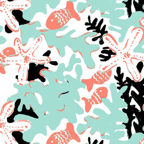 Coral, Fish and Sea Stars in Black and Mint