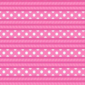 Pink polka dot striped patterns