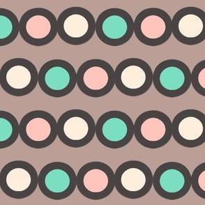 dotty mint, coral, white and black