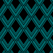 Art Deco Peacock Diamonds, Black and Teal