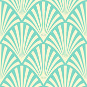 Art Deco Fans, Teal and Cream