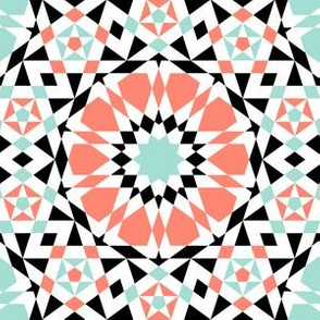 decagon star : coral mint black white
