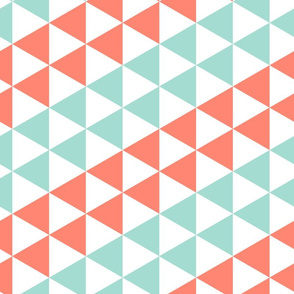 triangle stripes - coral and mint