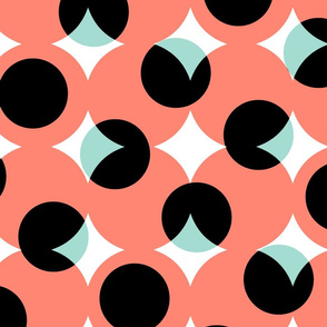 enormous halftone dots in coral, mint, black and white