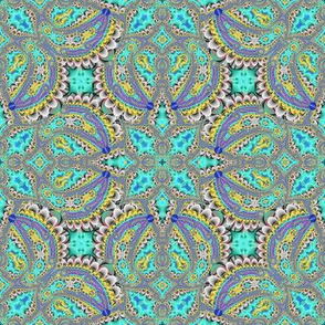 Fractal Ruffles and Leaves, Aqua
