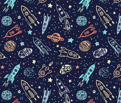 Space voyage fabric yuliussdesign com spoonflower for Space themed material