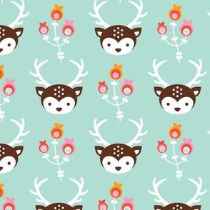 Adorable little blossom deer baby nursery illustration and kids fashion print